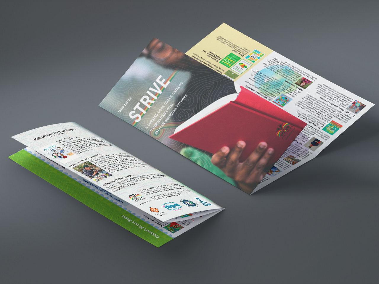 Strive book catalog, an oversized tri-fold