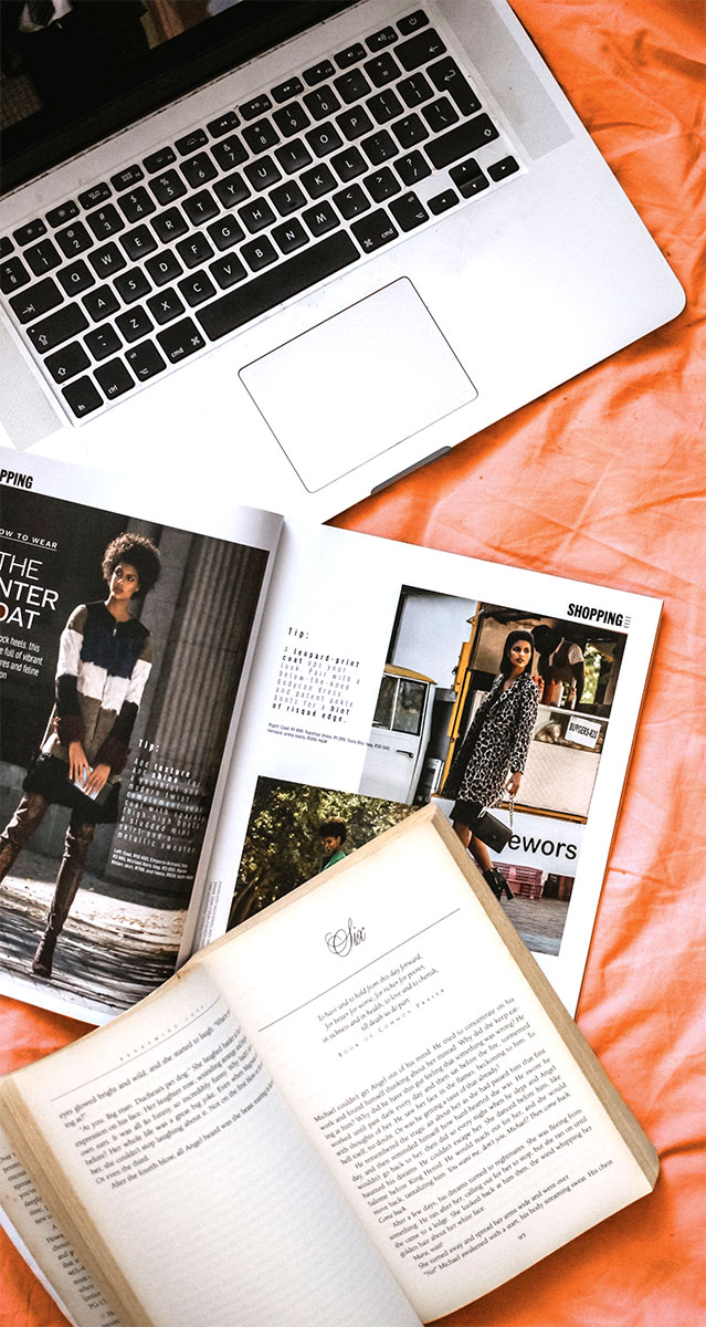 Computer, editorial, and book example, photo by sincerely media