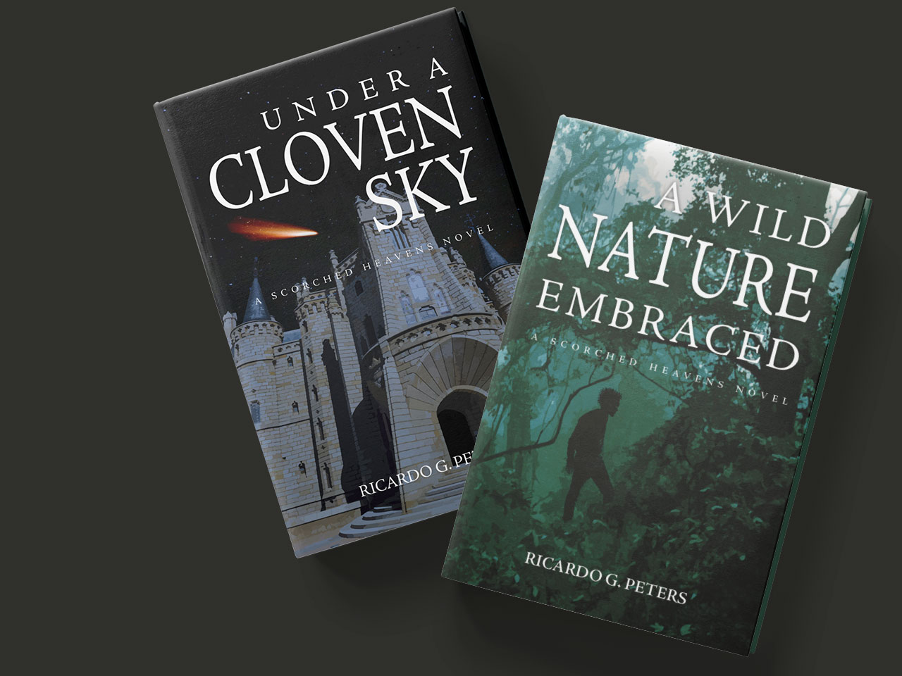 Covers of the sequel and first book, showing a moody green jungle scene and a shadowy character in profile