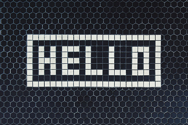 """""""Hello"""" mosaic tile photo by Tim Mossholder"""